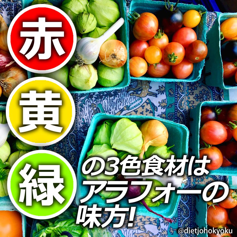 「赤・黄・緑」の3色食材は、アラサー、アラフォーの味方